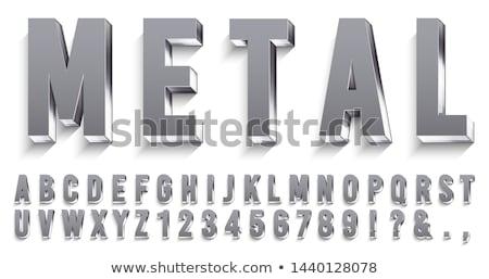 3D szimbólumok szett fémes eps10 gradiens Stock fotó © TheModernCanvas