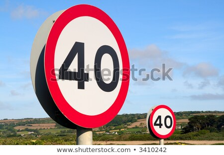 British 40 miles an hour speed limit sign Stock photo © latent