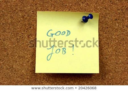 Amarelo pequeno nota pegajosa escritório cortiça boletim Foto stock © dacasdo