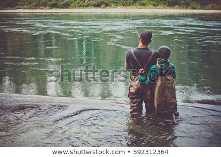 Pár halászat folyó férfi csónak tó Stock fotó © photography33