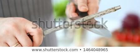 Kasap bıçak kalemtıraş süpermarket kuzu taze Stok fotoğraf © photography33