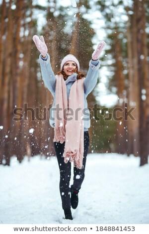 femme · heureux · hiver · fille · neige · forêt - photo stock © Aliftin