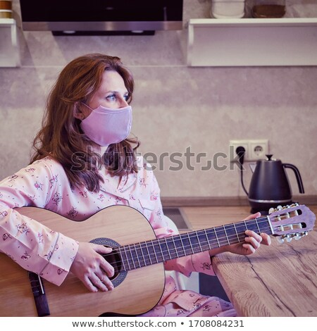 Lány maszk piros gitár fehér zene Stock fotó © dolgachov
