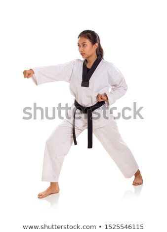 Young woman standing in a combat stance Stock photo © pzaxe