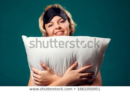 Feliz loiro preto travesseiro branco menina Foto stock © dolgachov