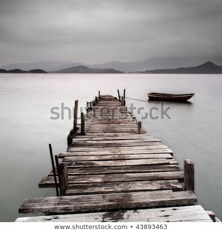 Stok fotoğraf: Ahşap · iskele · düşük · su · manzara · köprü