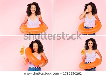Foto stock: Collage · mujer · variedad · frutas · alimentos