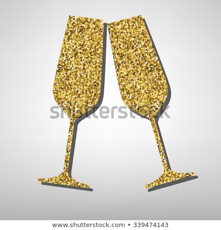 Stockfoto: Bril · gouden · champagne · klaar · bruiloft · wijn