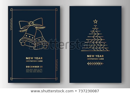 Christmas Card with Bells on Gold background Stock photo © fenton