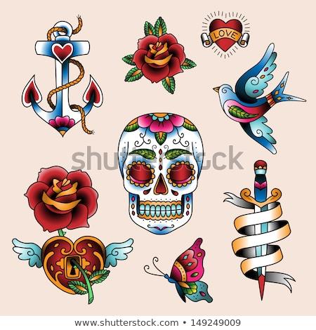 Madár rózsa szalag szív Valentin nap tetoválás Stock fotó © creative_stock