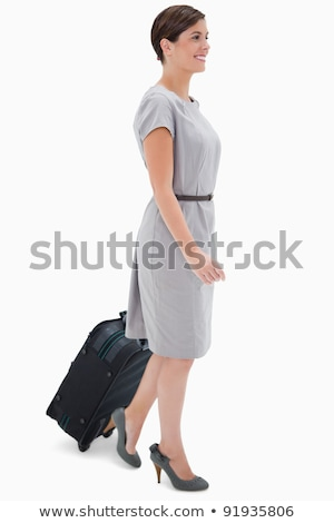 widok · z · boku · kobieta · worek · biały · pracy · tle - zdjęcia stock © wavebreak_media