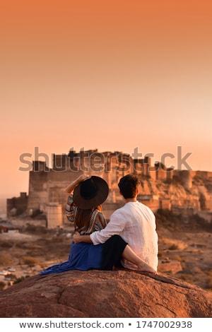 Stock fotó: Erőd · tájkép · hegy · kastély · kő · építészet