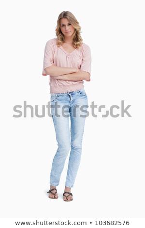 komoly · nő · áll · karok · összehajtva · fehér - stock fotó © wavebreak_media