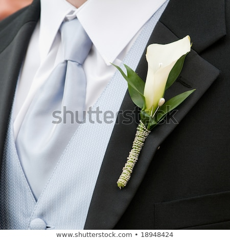 Stockfoto: Grooms Buttonhole Is Roses And Lily