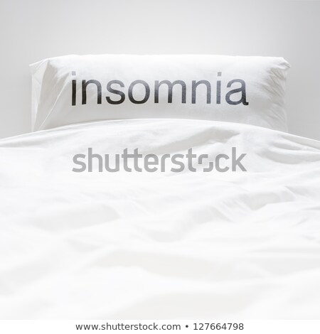 White fresh linen nobody, insomnia sign on pillow Stock photo © HASLOO