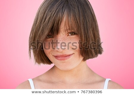 Kislány szeplők kezek arc asztal portré Stock fotó © photography33
