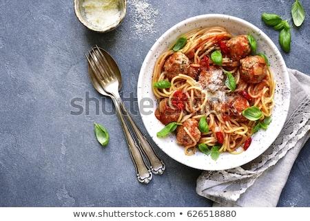 Spaghetti polpette parmigiano formaggio cena carne Foto d'archivio © M-studio