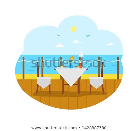 Stockfoto: Restaurant · zee · stoelen · tabel · balkon · zomer