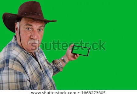 Cowboy hand hoed jonge knap Stockfoto © stepstock