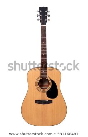 Akustik gitar adam oynama siyah arka plan Stok fotoğraf © angusgrafico