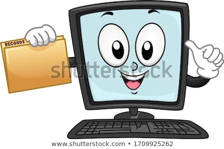 Foto stock: Computador · mascote · mão · sorrir · cara · monitor