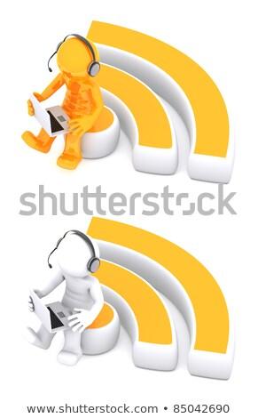 3D carattere seduta rss simbolo isolato Foto d'archivio © Kirill_M