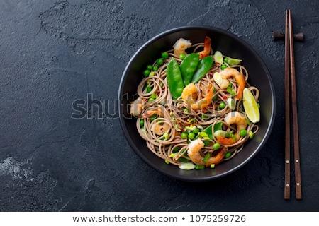 Asya yemek makarna makarna siyah plaka Stok fotoğraf © artlens