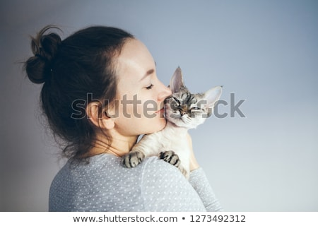 woman and cat Stock photo © ssuaphoto