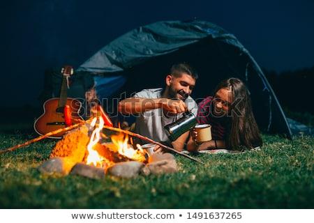 пару · палатки · молодые · ног · копия · пространства - Сток-фото © diego_cervo