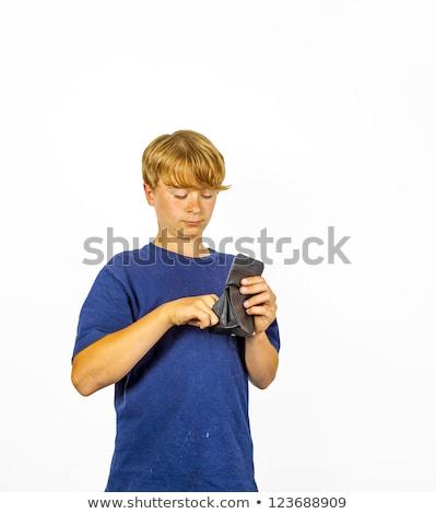 мальчика кармана деньги кошелька улыбка лице Сток-фото © meinzahn