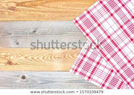 タブレット テーブルクロス 繊維 木製のテーブル 白 青 ストックフォト © REDPIXEL