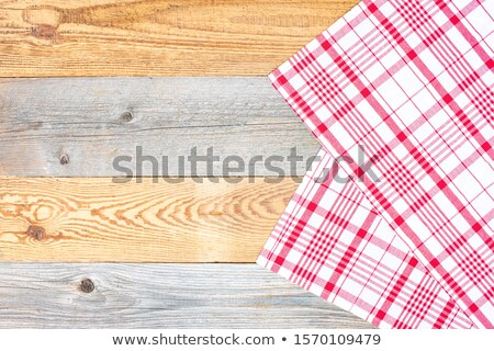 Tableta mantel textiles mesa de madera blanco azul Foto stock © REDPIXEL