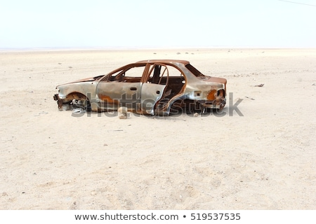 Car on a empty in the Namib desert Stock photo © michaklootwijk