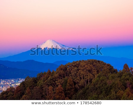 Monte Fuji pôr do sol brilho cidade neve montanha Foto stock © shihina