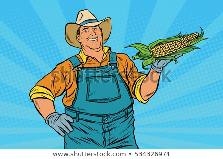 Farmer with cowboy straw hat holding wheat ears Stock photo © stevanovicigor