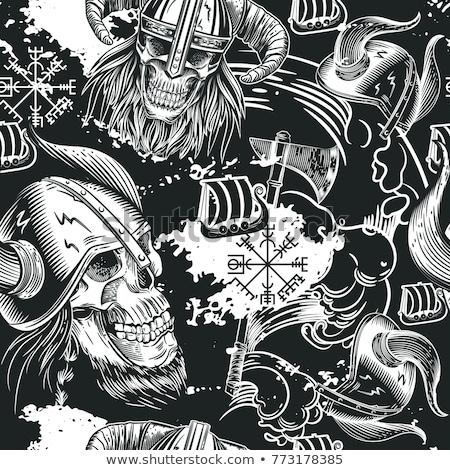 Sketch skull in viking helmet Stock photo © kali