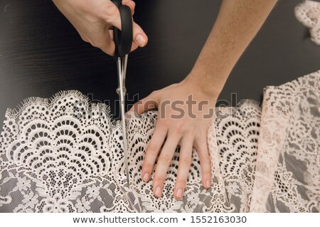 girl preparing to sew and cut fabric Stock photo © feelphotoart