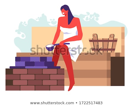Lady relaxing in traditional wooden sauna. Stock photo © kasto