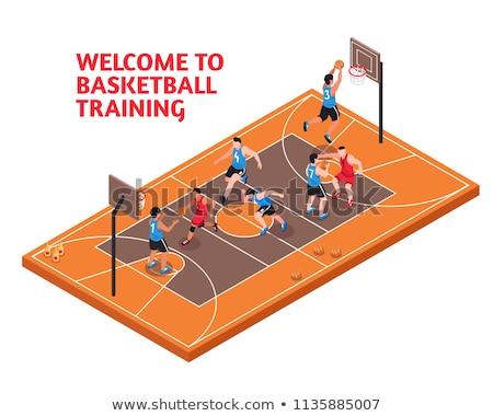 Plakat człowiek sportu szkolenia koszyka Zdjęcia stock © leonido