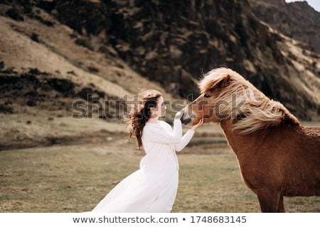 art photo of the woman with strong horse stock photo © konradbak