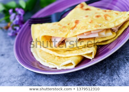 pancake with ham and cheese stock photo © m-studio