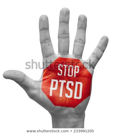 Stop PTSD Sign Painted, Open Hand Raised. Stock photo © tashatuvango