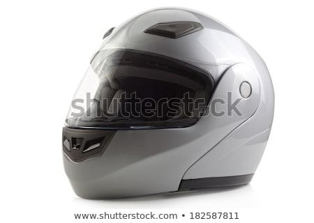 Zilver glanzend fiets helm geïsoleerd grijs Stockfoto © Kor