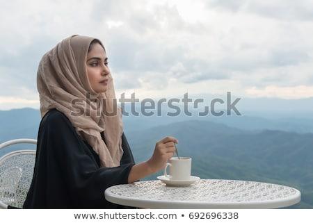 Muçulmano menina sorrir retrato asiático Foto stock © aza