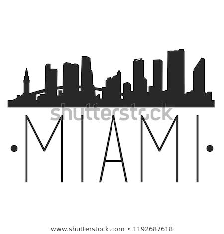 Майами Skyline силуэта город Флорида США Сток-фото © blamb