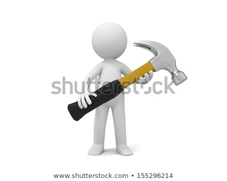 hammer in man. Isolated on white 3D image stock photo © ISerg