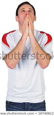 Ideges futball ventillátor piros fehér futball Stock fotó © wavebreak_media