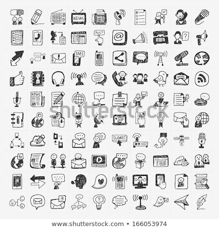 Personas chatear burbuja boceto icono web móviles Foto stock © RAStudio