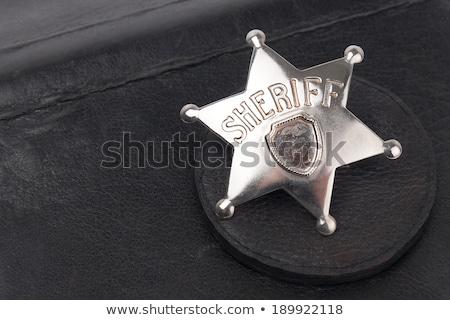 Sheriff hoofd star badge achter Stockfoto © superzizie