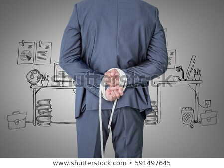 businessman tied up with rope against gradient stock photo © elnur